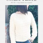 Woman in soft white crochet sweater.