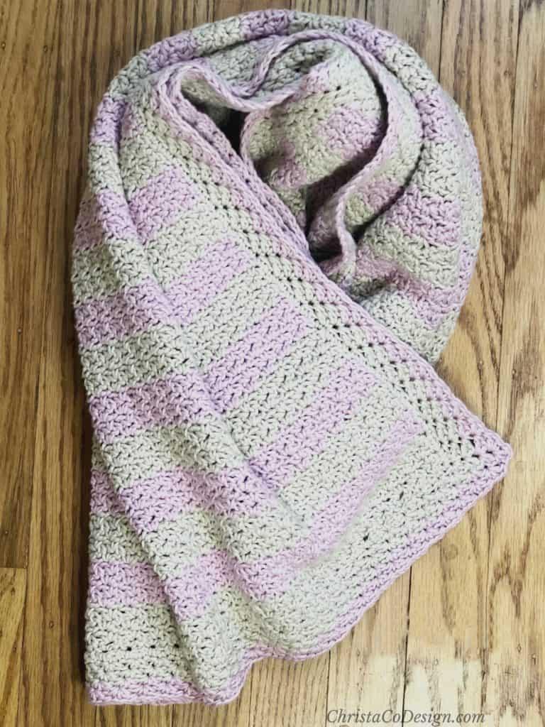 Striped blanket twisted.