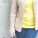 picture of cardigan with teal button free crochet pattern