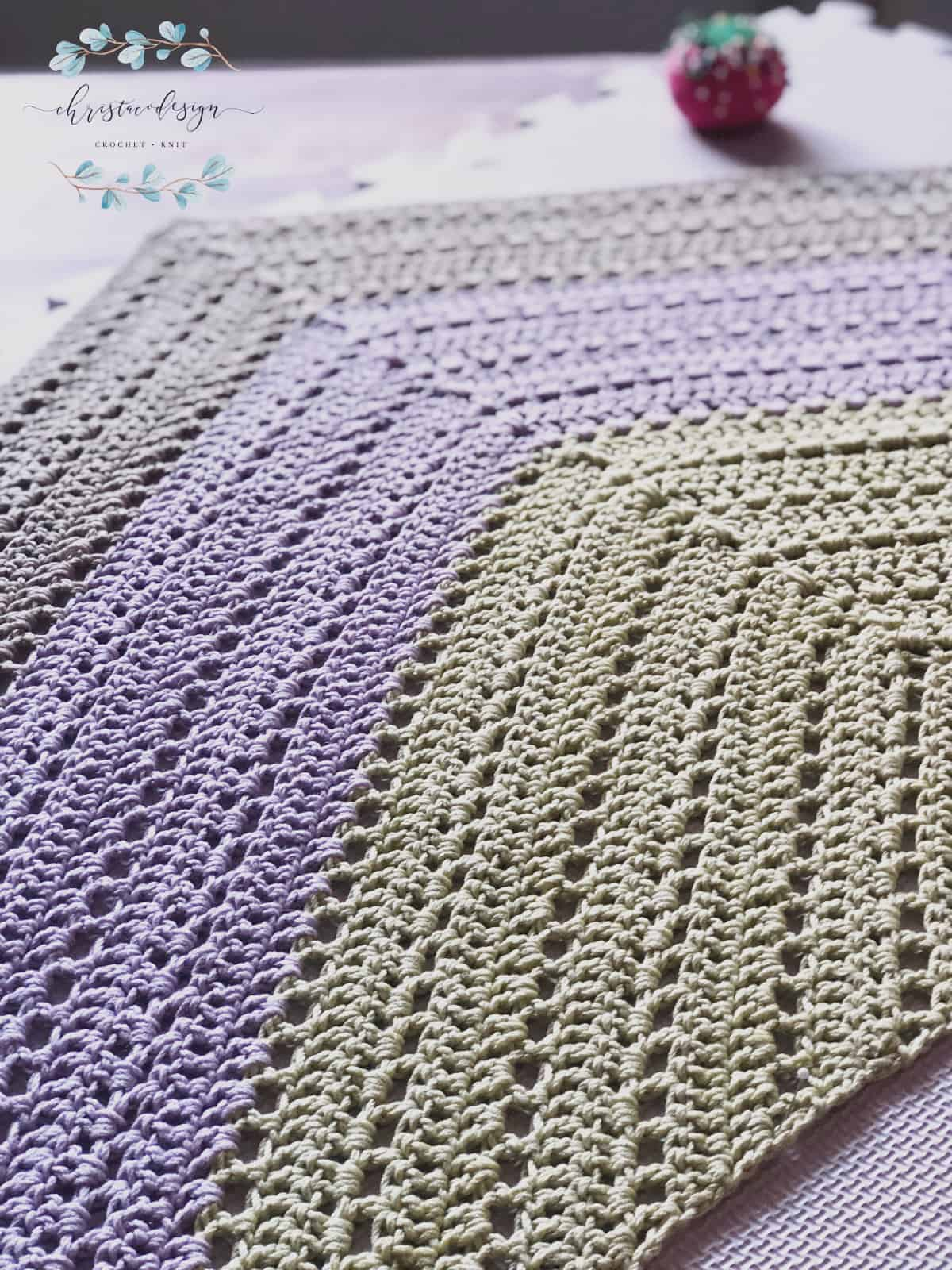 picture of triangle shawl blocking