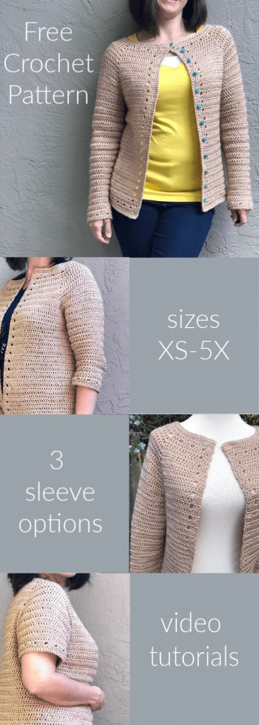 picture with text free crochet cardigan top down