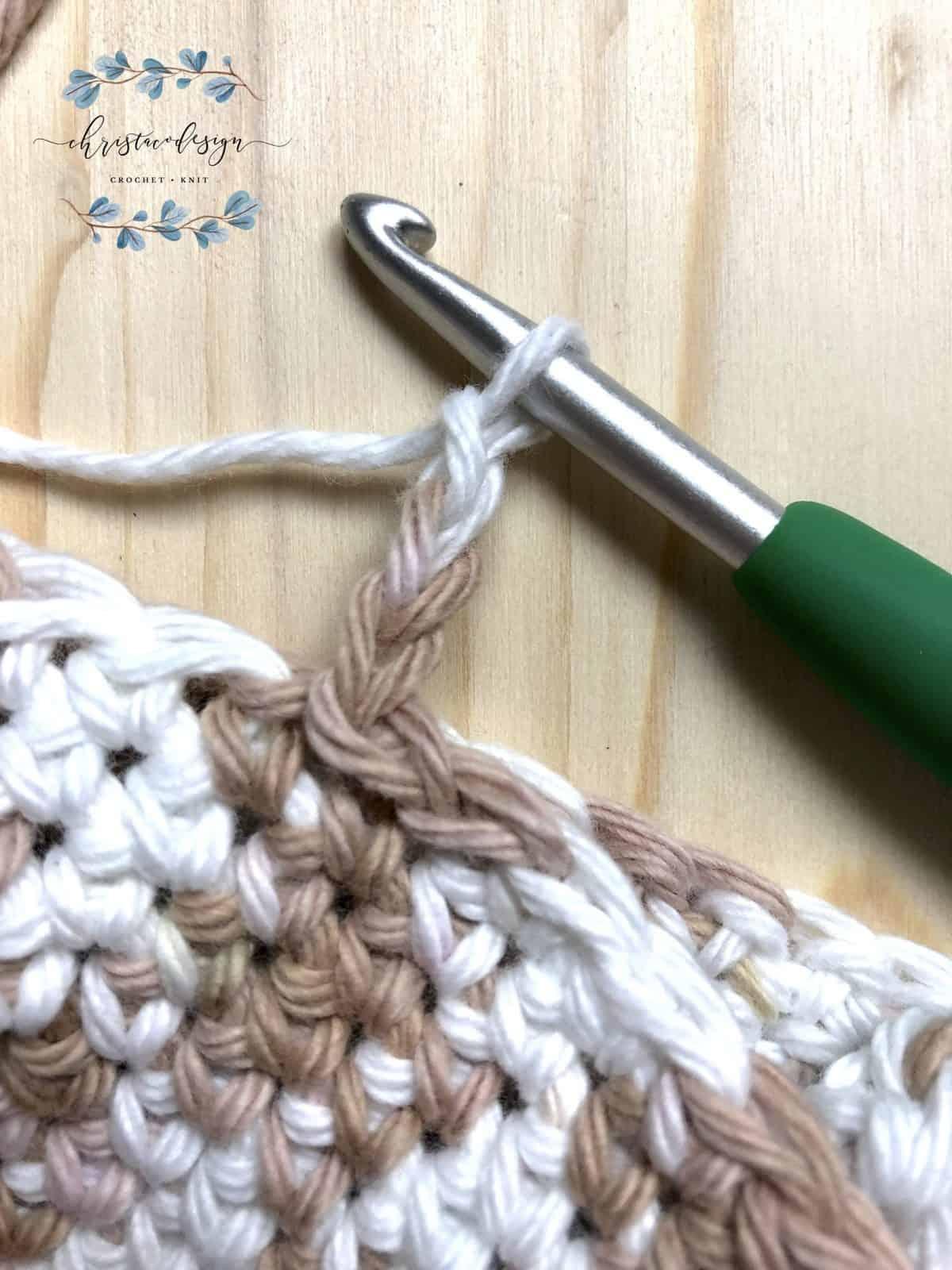 Chain 3 to start next x stitch.