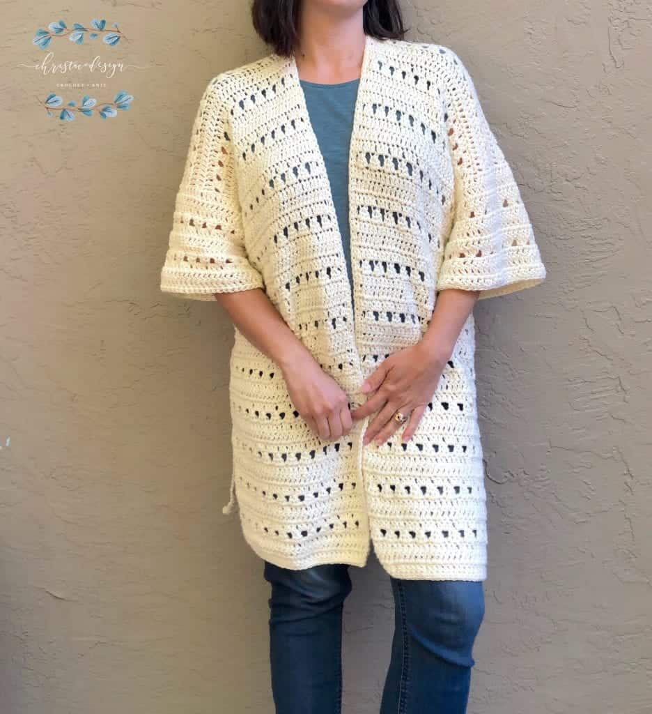 picture of woman wearing cream summer cardigan