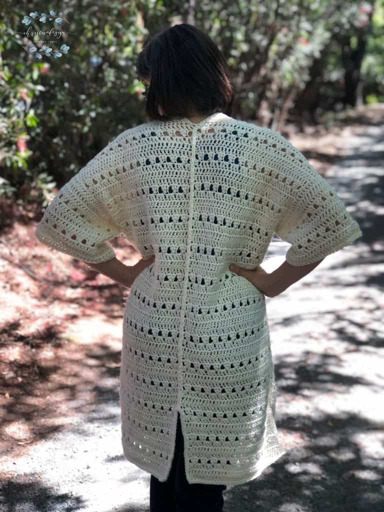picture of back of summer crochet cardigan in shade