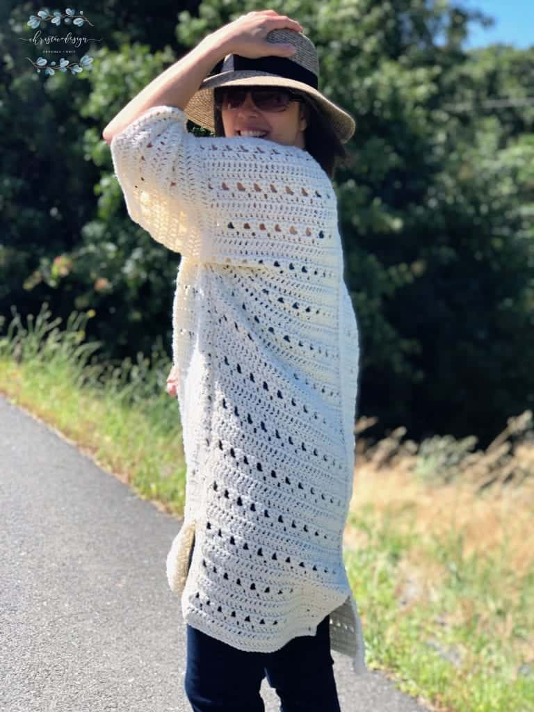 picture of side view cream crochet summer cardigan