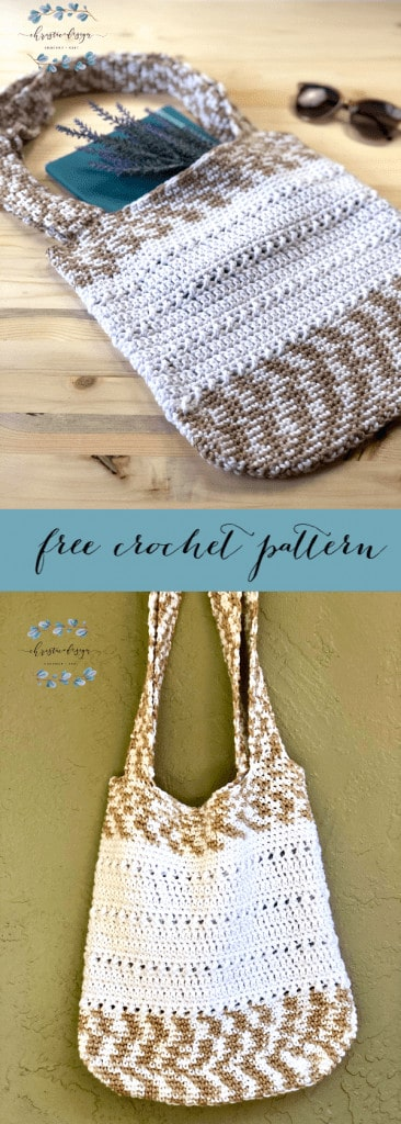 Free crochet tote bag pattern with two handles and solid construction pin image with text.