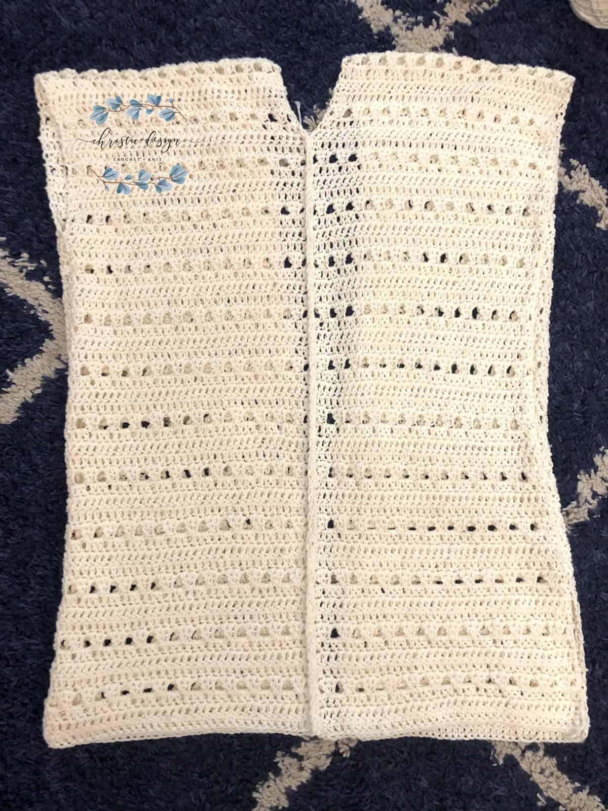 Picture of crochet cardigan back seam