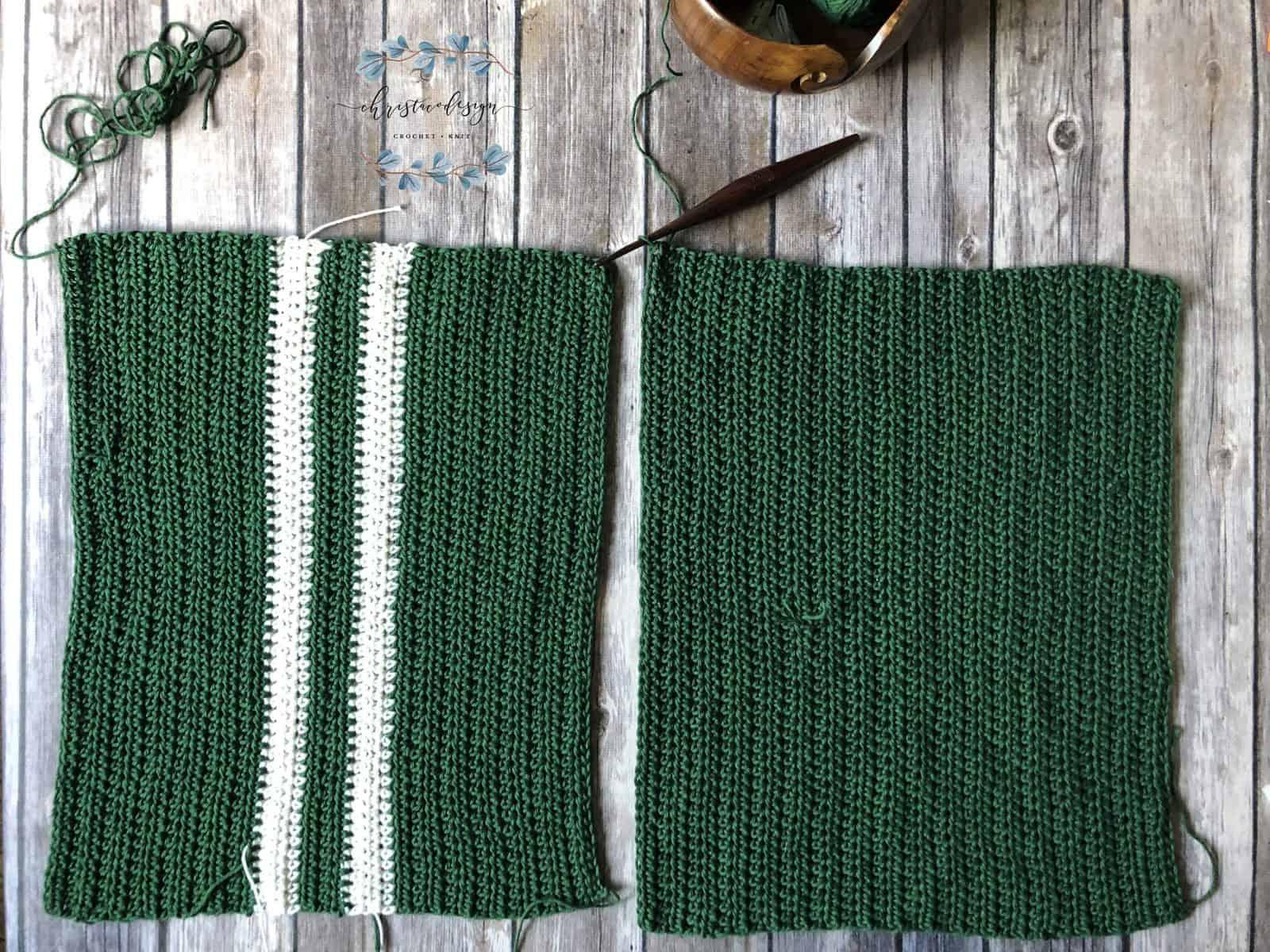 picture of two crochet refcatngles side bye side in green for crochet kids shirt