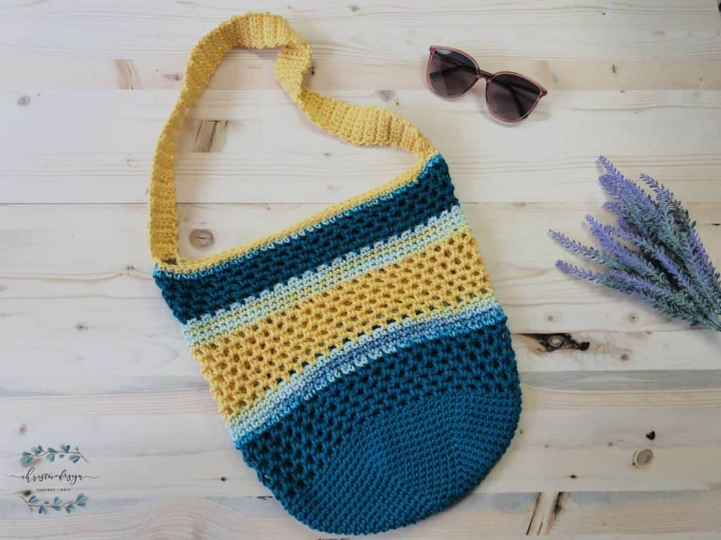 Teal blue and yellow crochet beach tote bag.