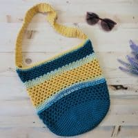 picture of blue and yellow crochet beach tote bag