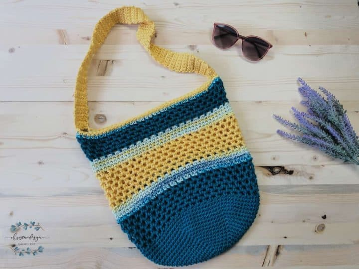 Teal blue and yellow Free Crochet Tote Bag Pattern.
