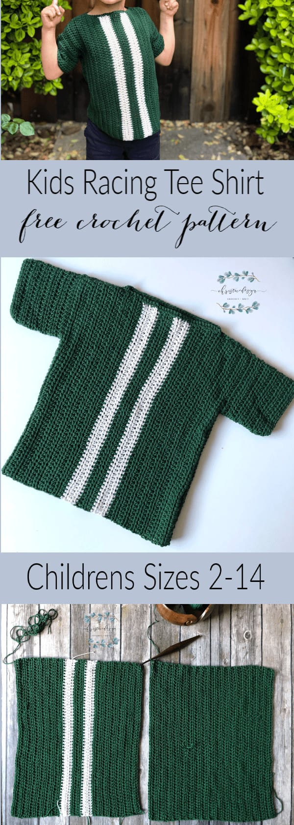 picture of pin image and text for free crochet kids shirt