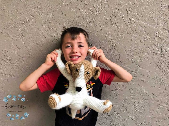 picture of boy holding crochet puppy