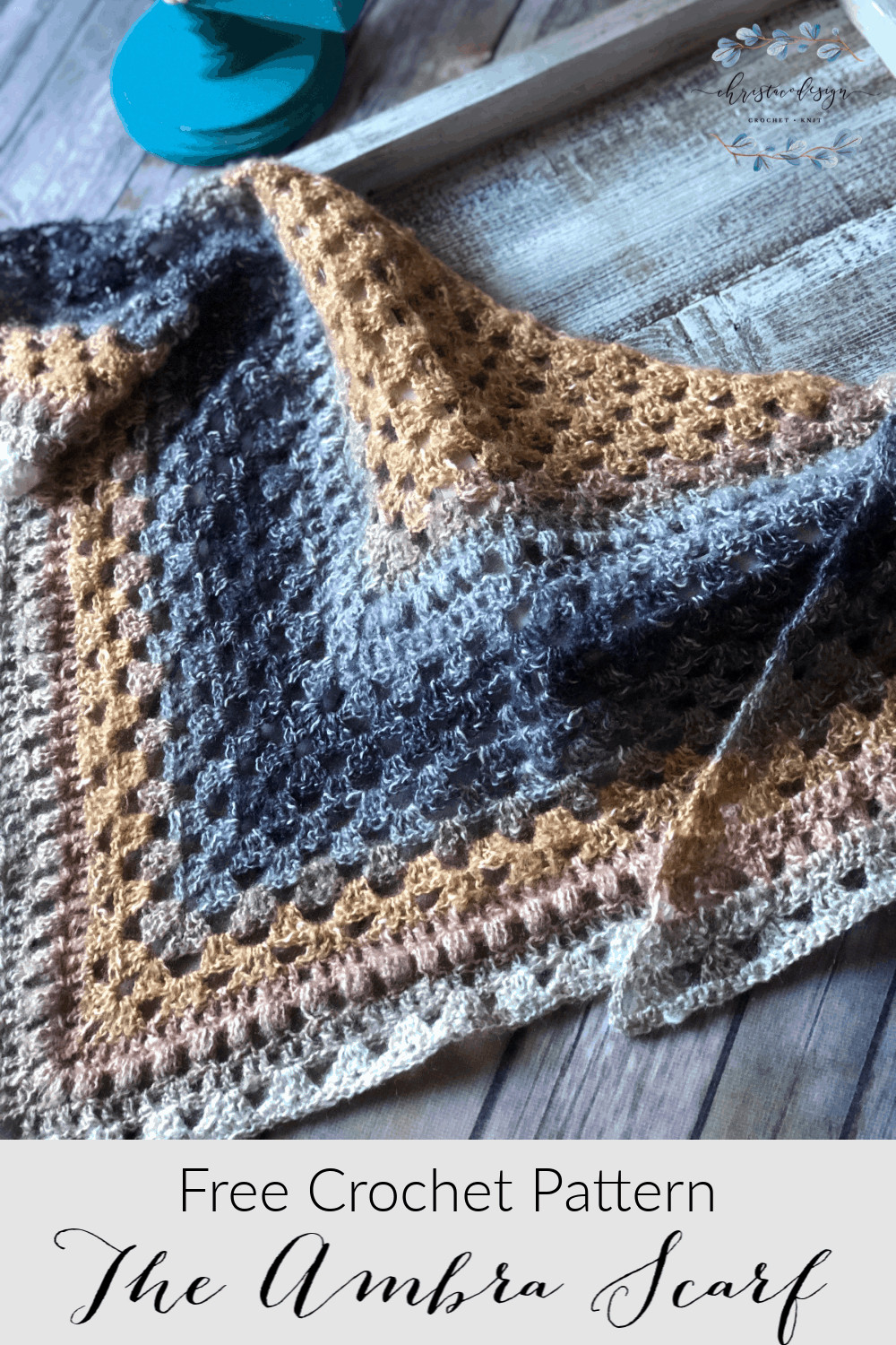 picture of pin image triangle scarf one skein crochet pattern
