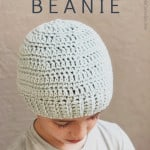 picture of pin with image and text boy in blue hat free crochet pattern