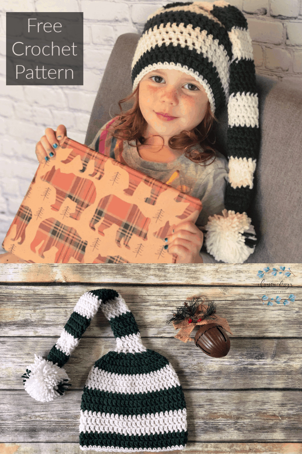 picture of pin image for long stocking hat green and white striped