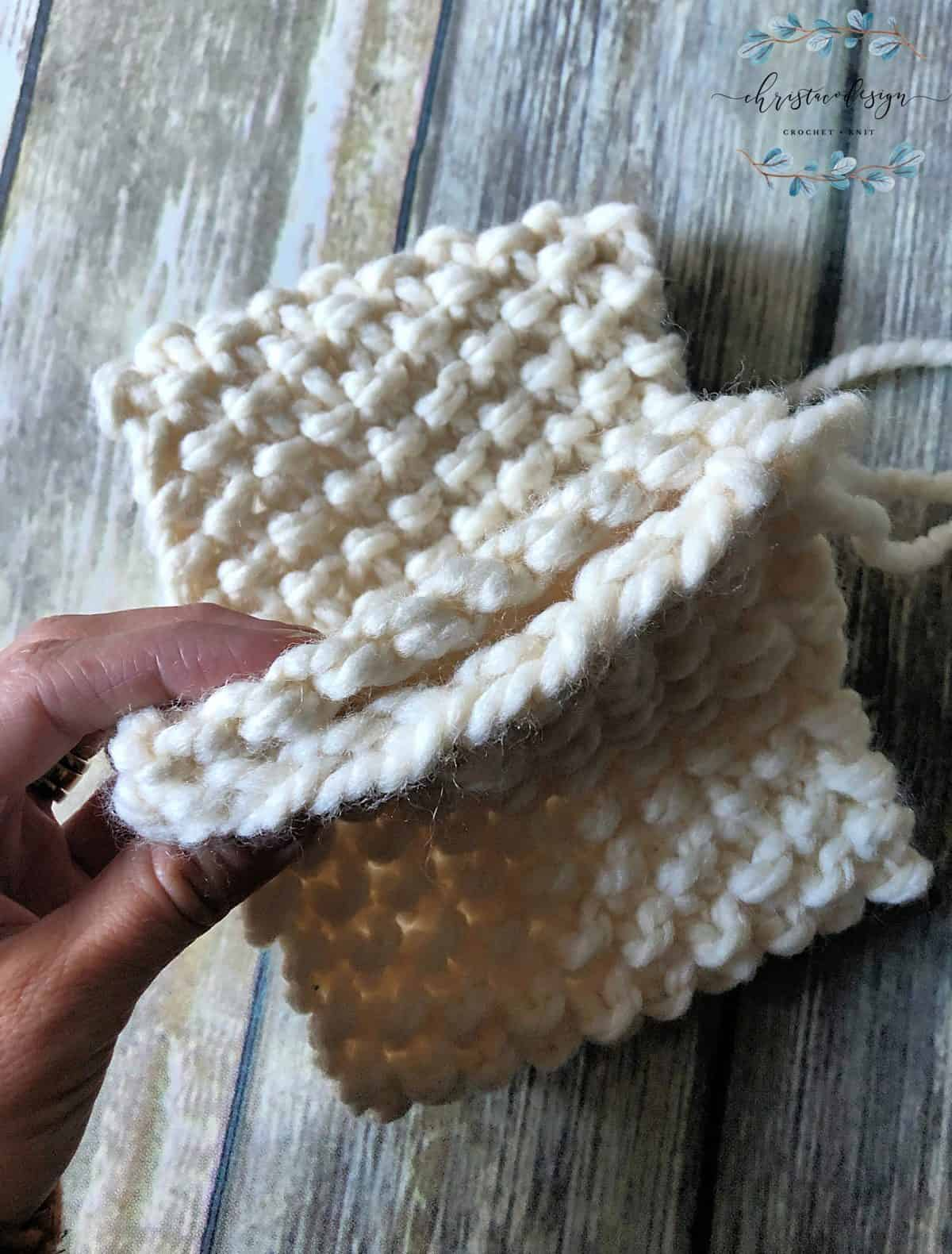 picture of matching ends knit ear warmer tutorial
