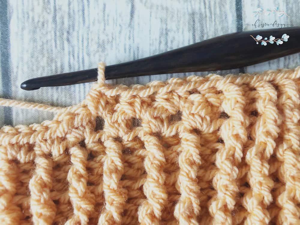 picture of crochet blanket center stitches orange