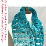 pin image of teal scarf with free crochet pattern text