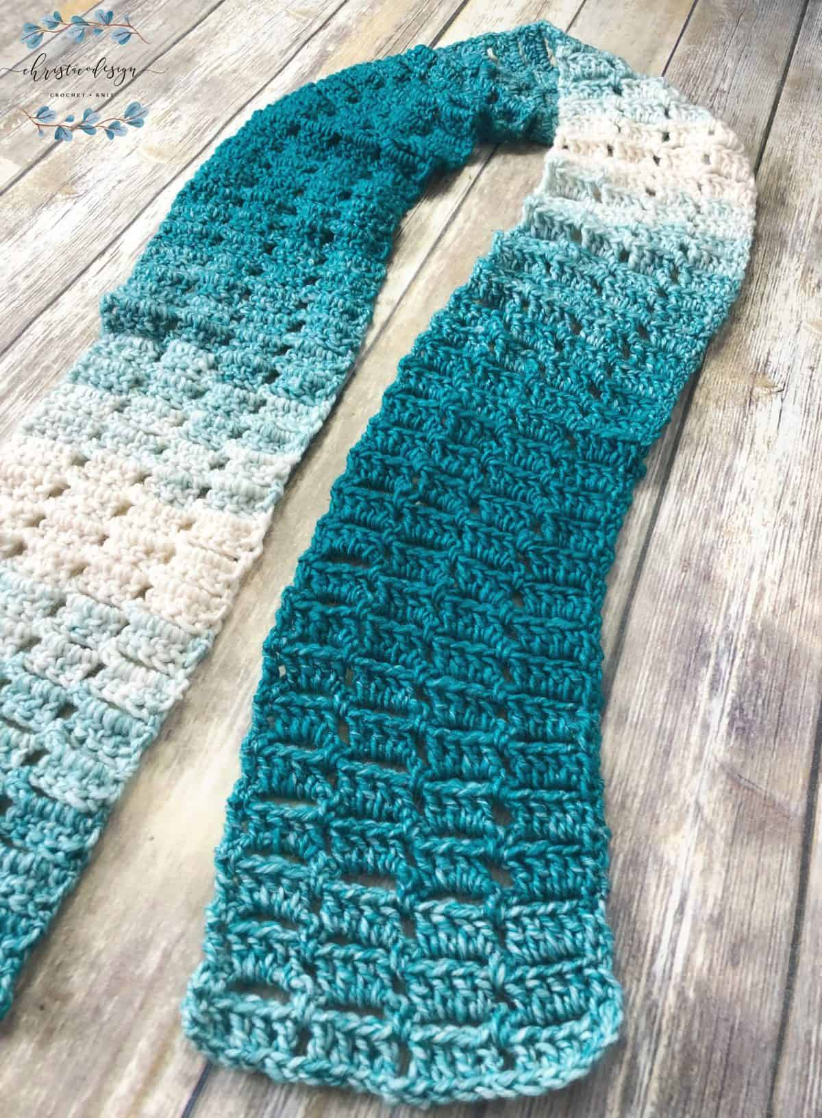 picture of chunky teal scarf crochet pattern flat
