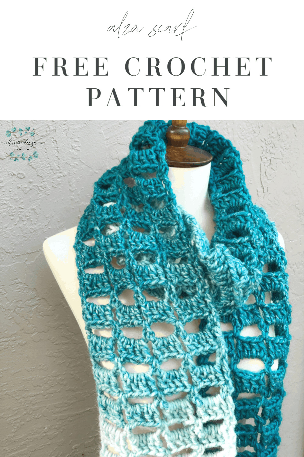 Alza Scarf Free Crochet Pattern an easy crochet scarf in teal blocks this free pattern works up in one skein of Scarfie yarn.