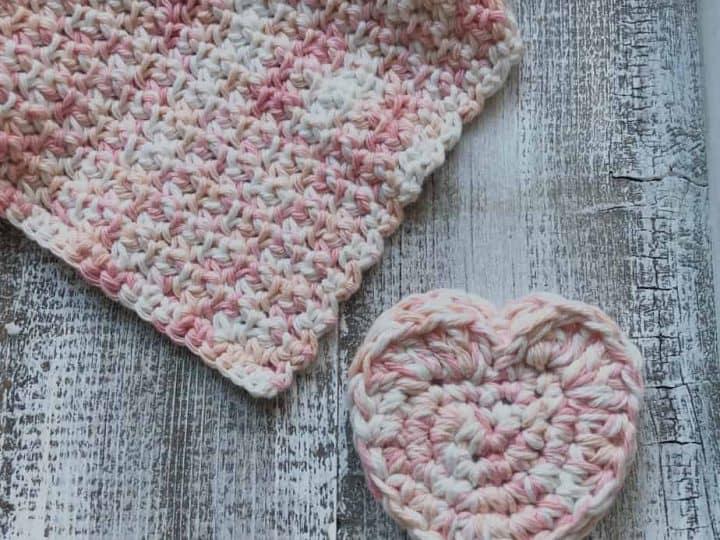 Crochet scrubby Heart and washcloth