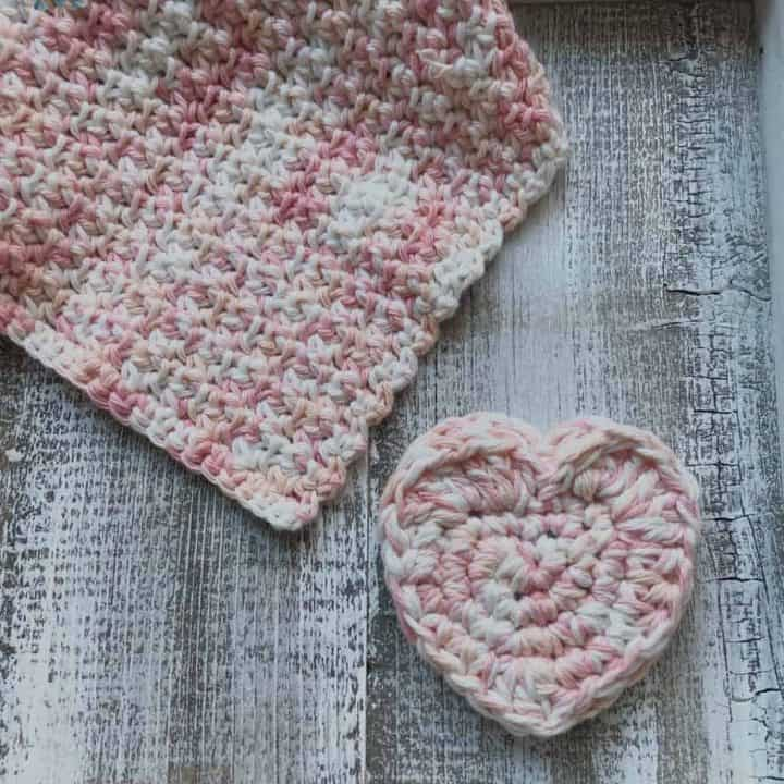Crochet Heart and washcloth