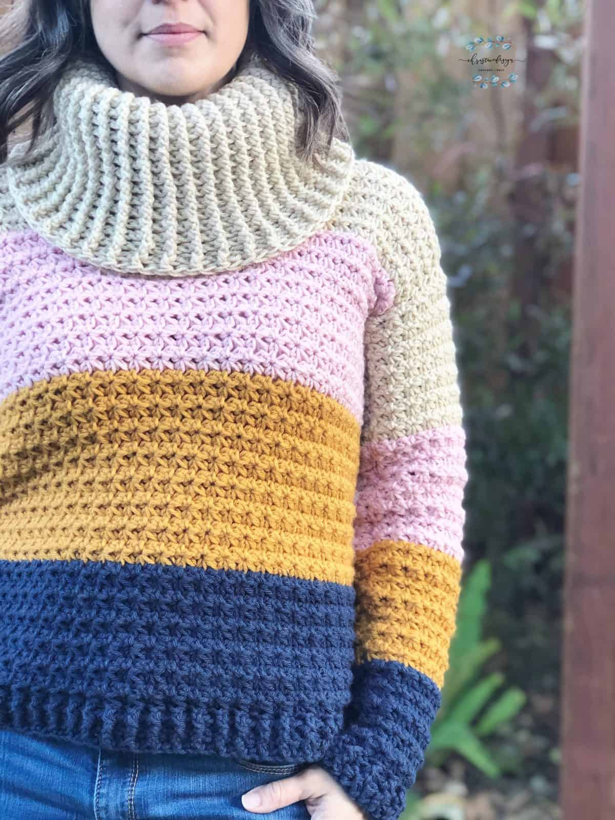 picture of woman in sunset crochet cowl neck sweater pattern