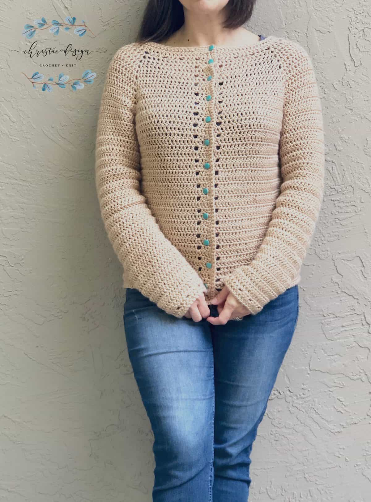 picture of woman in beige Spring Cardi crochet cardigan