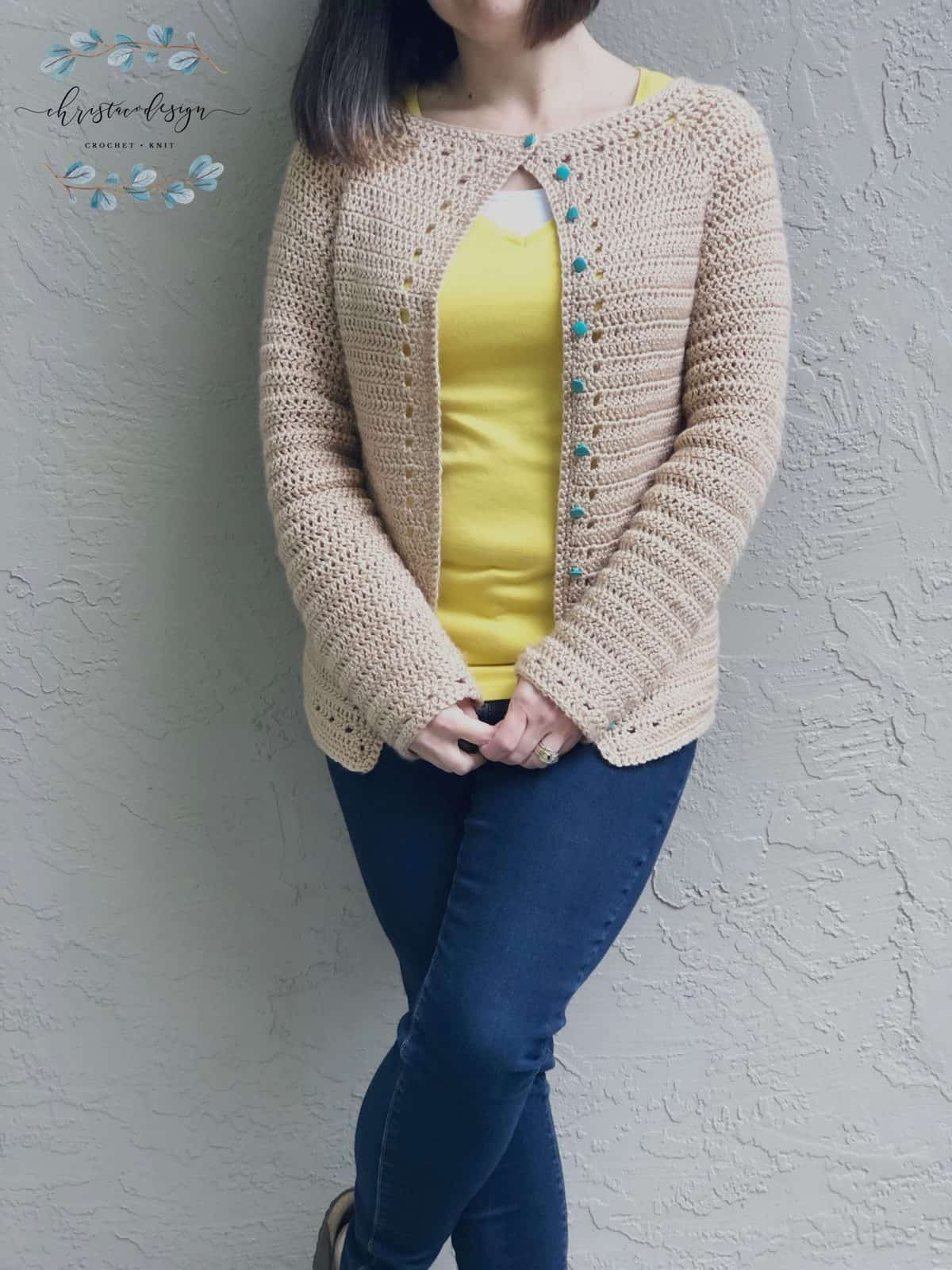 picture of woman in open front crochet cardigan