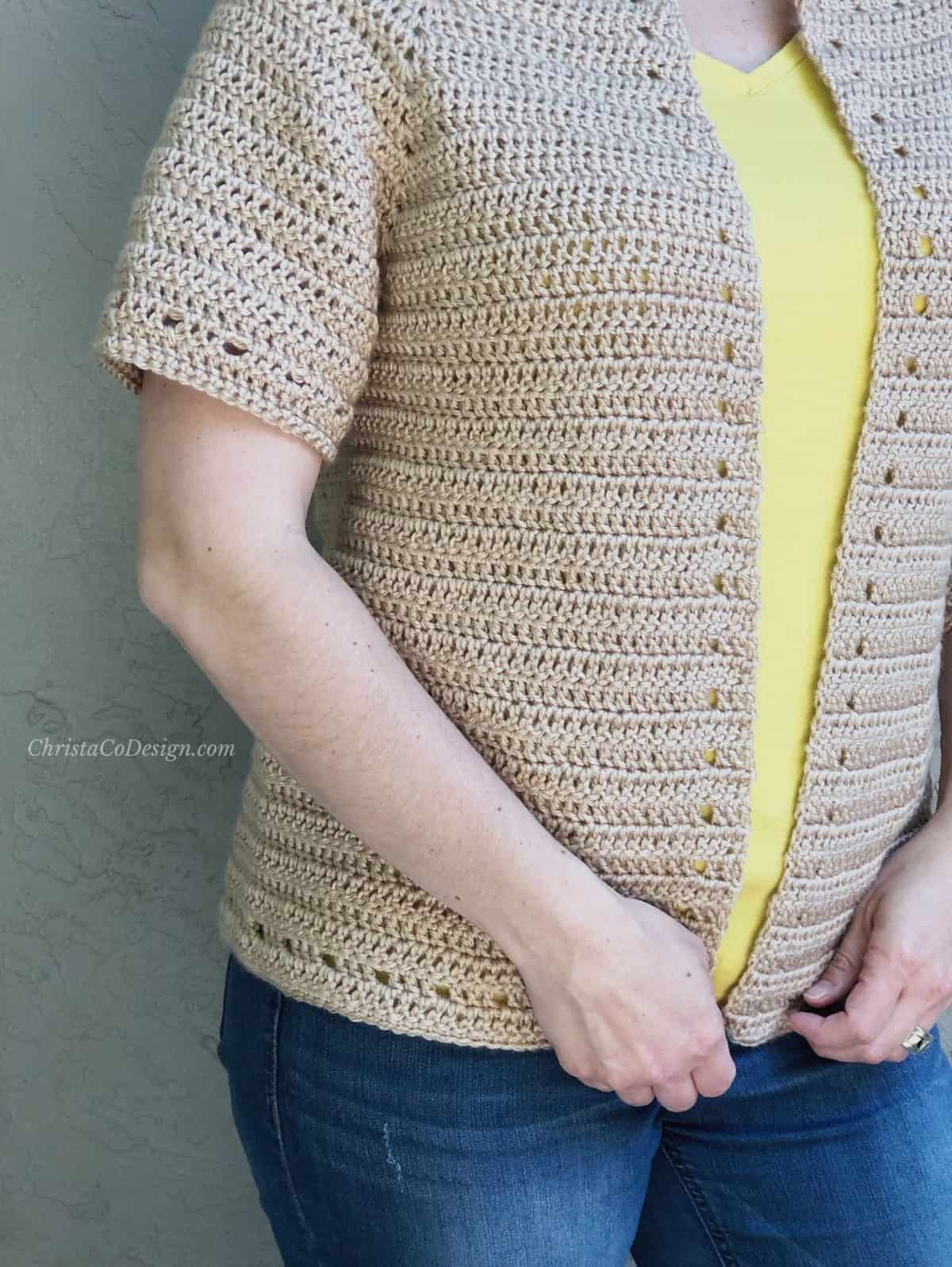 picture of short sleeve crochet cardigan