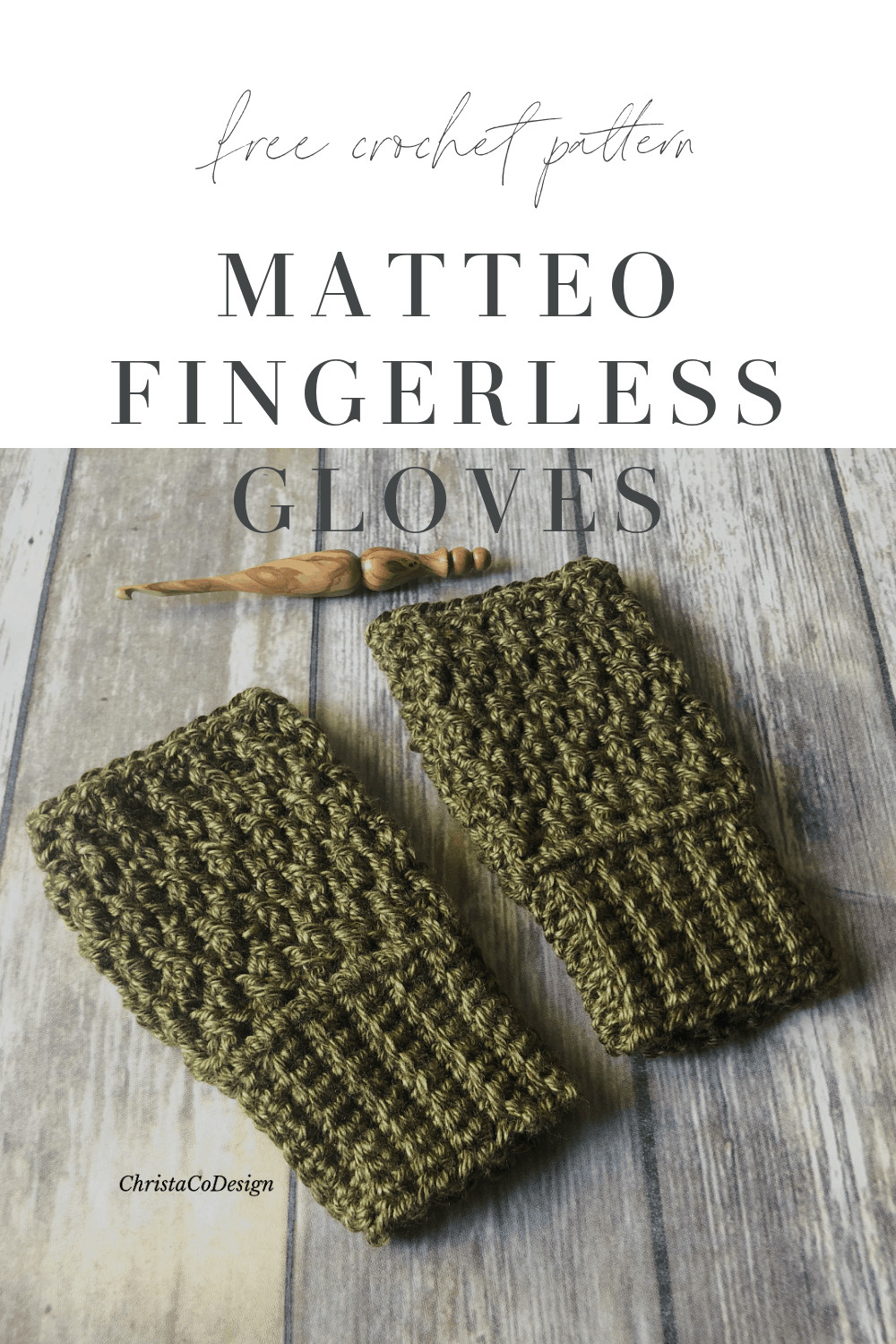 picture of pin image with text free crochet pattern Matteo fingerless gloves