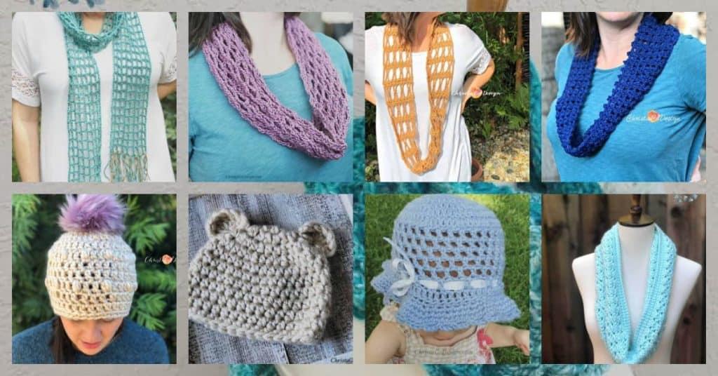 Collage of one skein crochet patterns.
