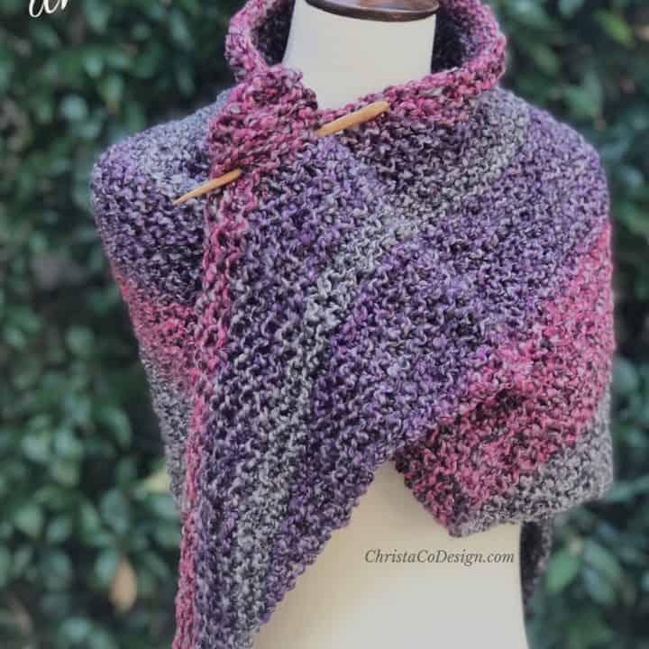 Purple shawl beginner knitting pattern.