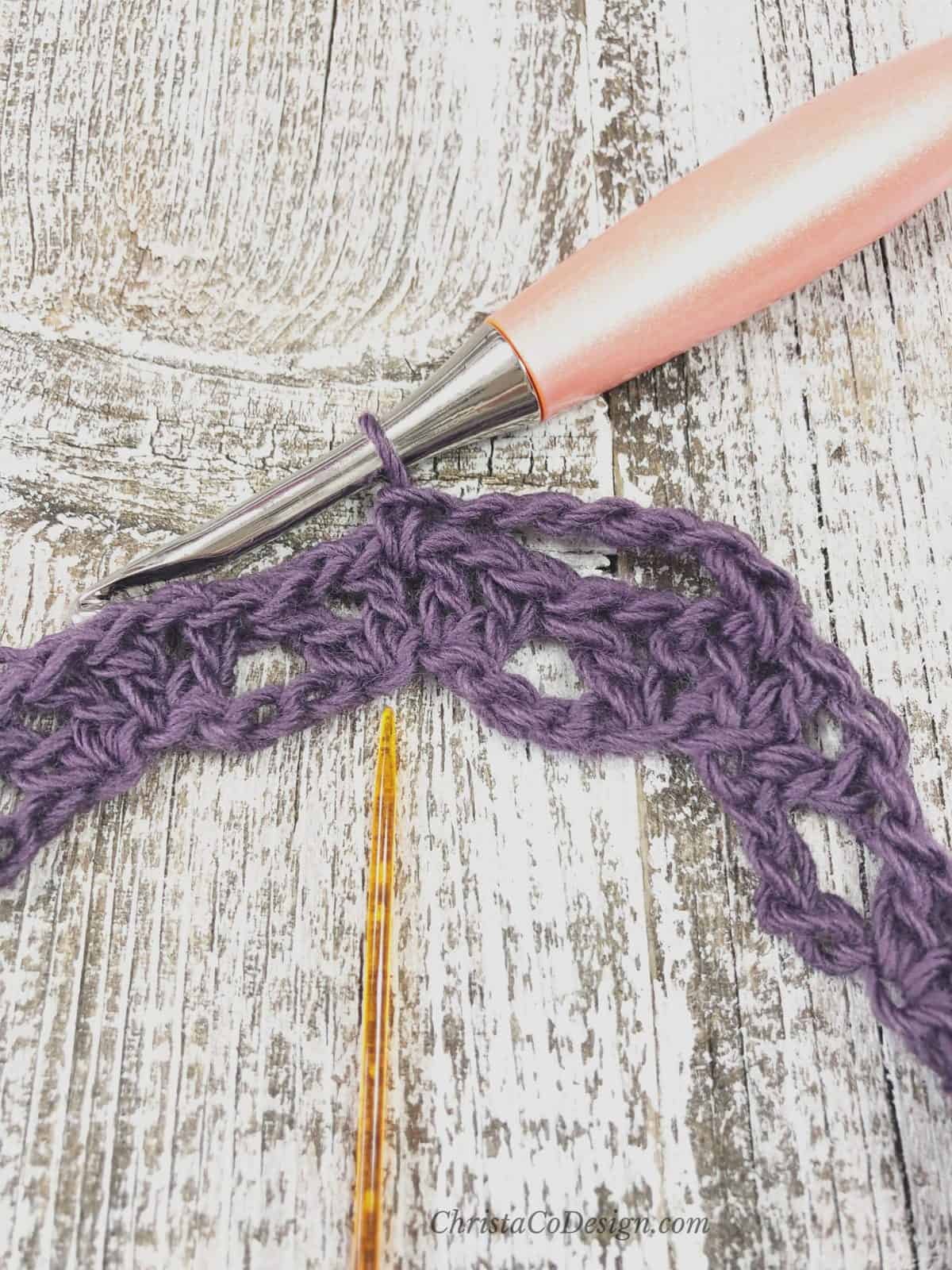 Chain, skip stitches and single crochet for open lace.