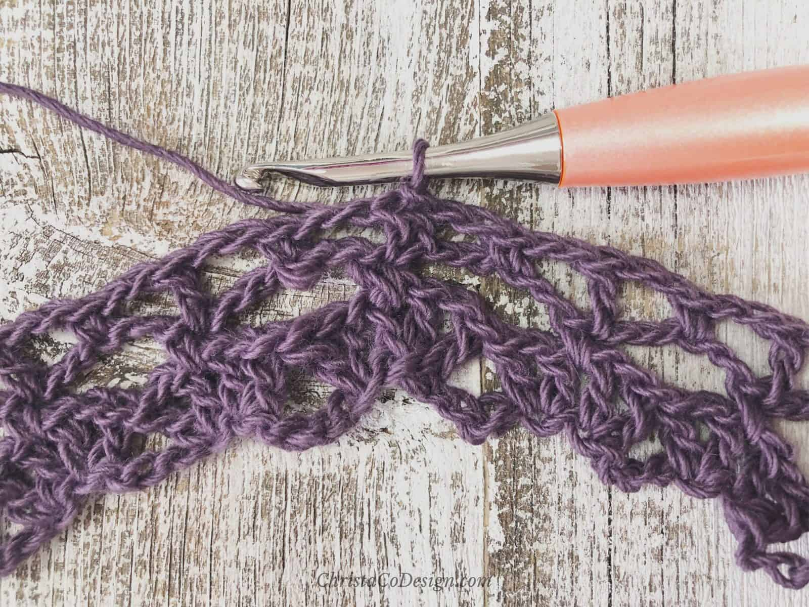 picture of purple crochet lace cowl tutorial