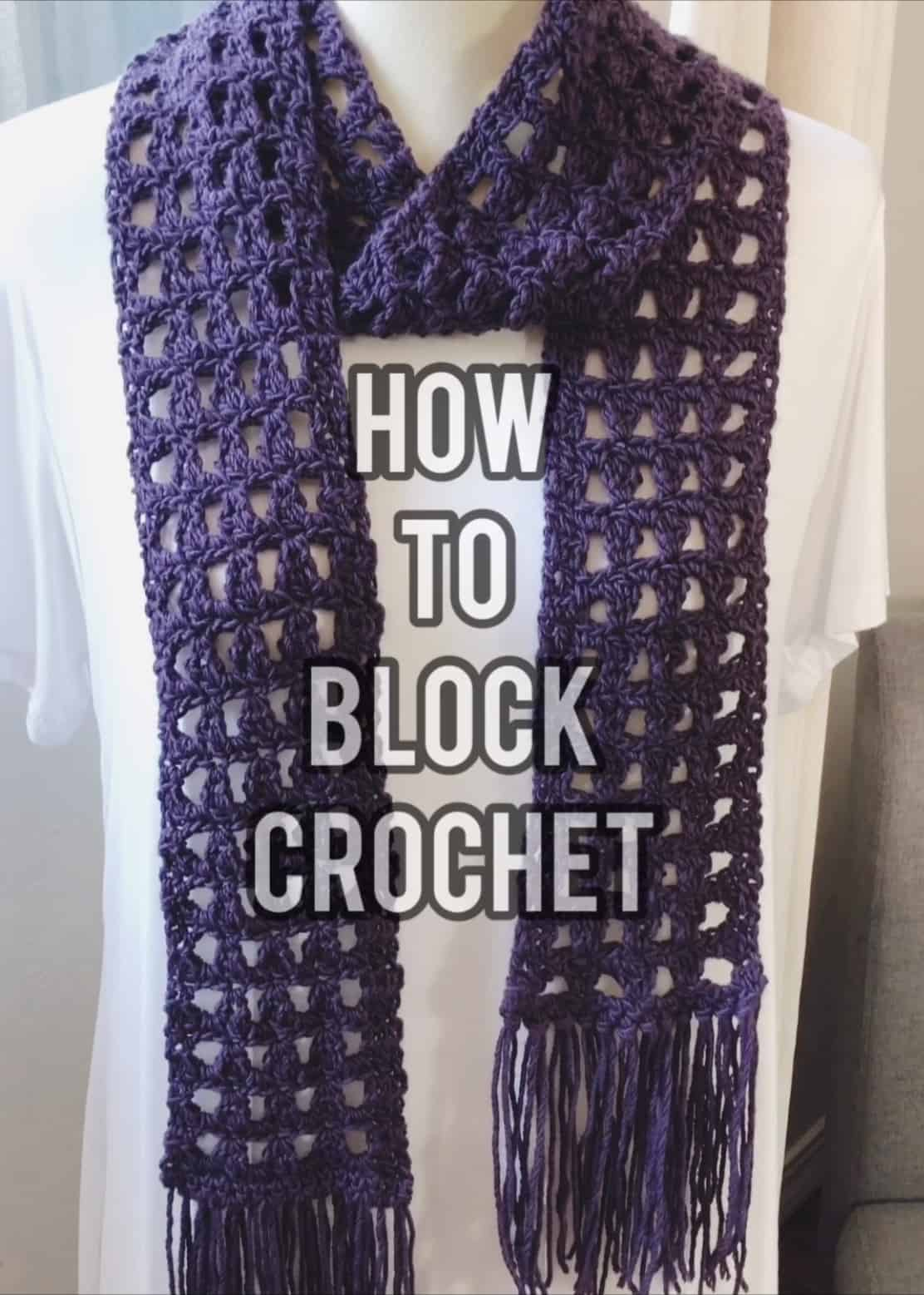 picture with text how to block crochet scarf