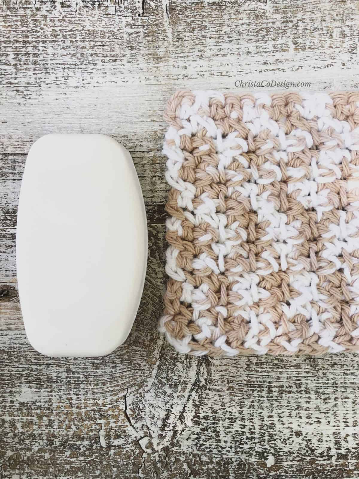 Picture of small crochet washcloth textured soap