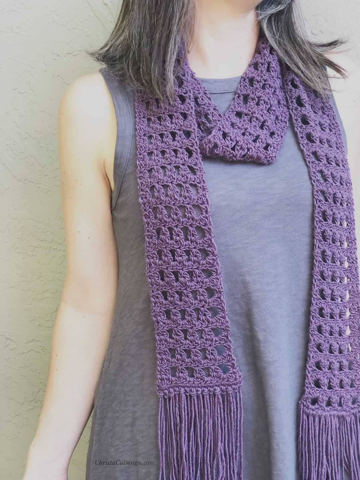 picture of close up lacy purple scarf with fringe