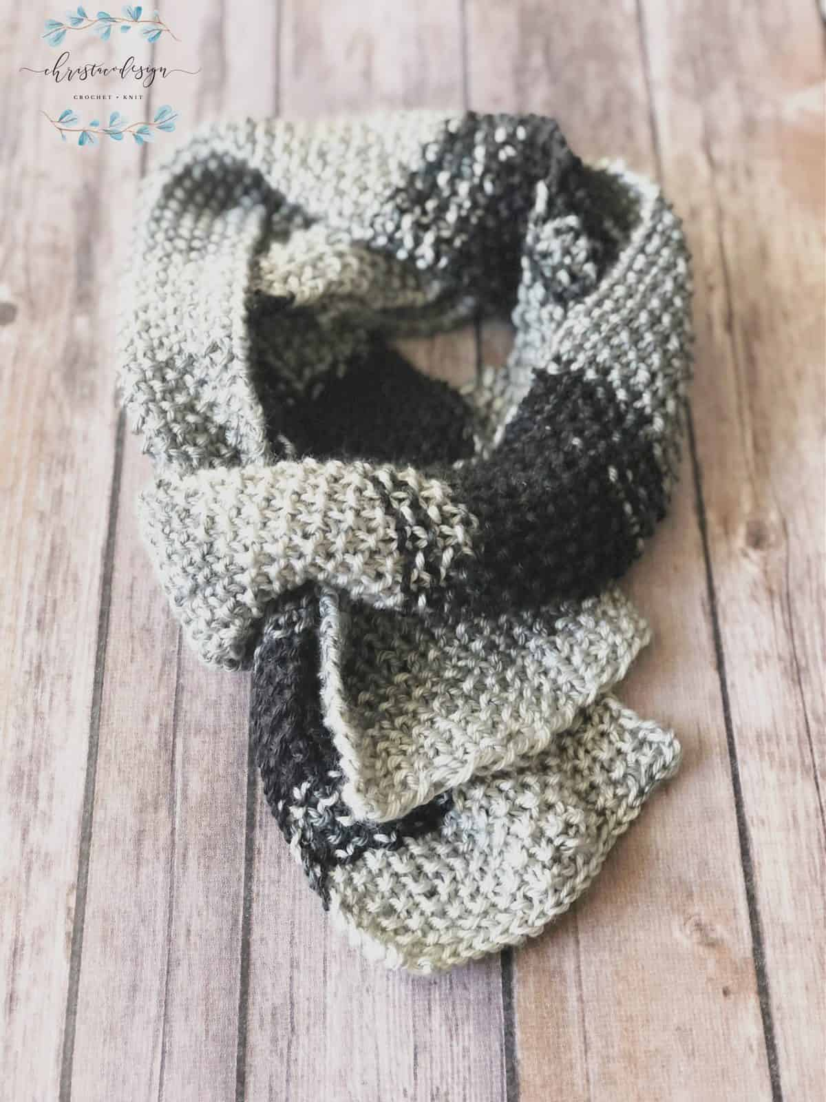 picture of textured grey knit scarf double wrapped flat