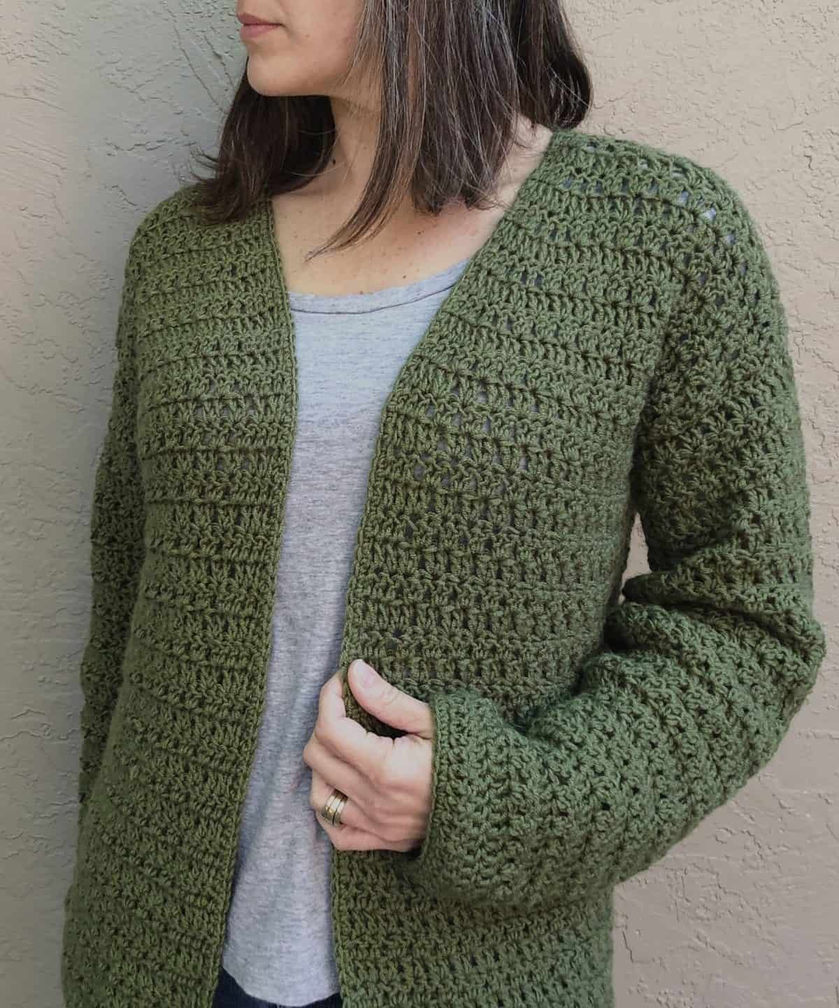 Picture of woman in green crochet cardigan