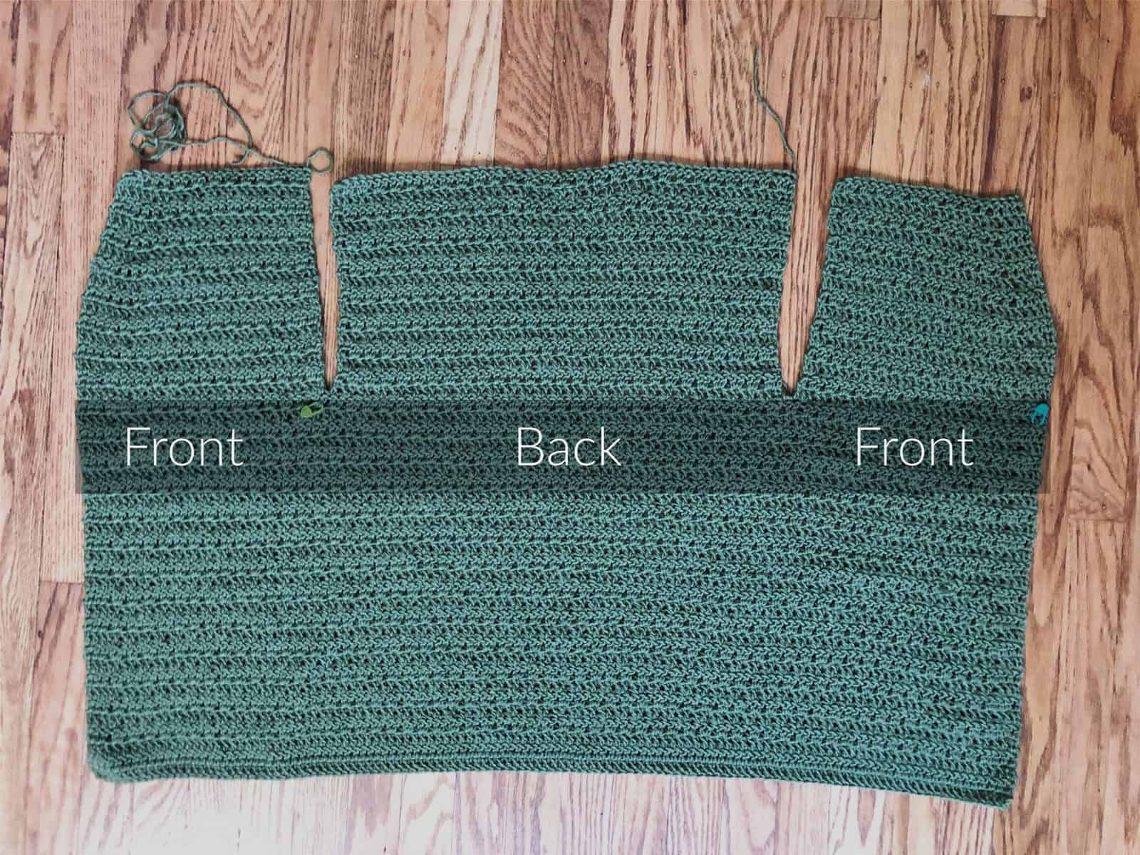Picture of cardigan flat labeled front back front panels