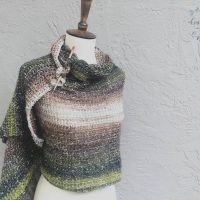 picture of beige green shawl wrapped mannequin