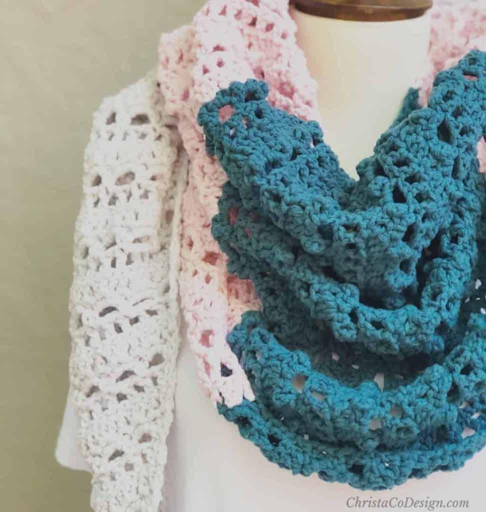 Mila color block shawl close