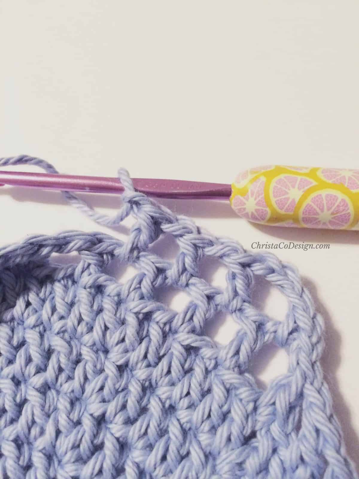 picture of several r14 crochet mesh stitches