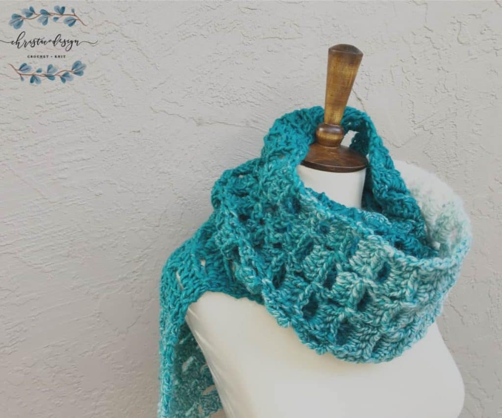 Teal scarf in one ball of scarfie yarn.