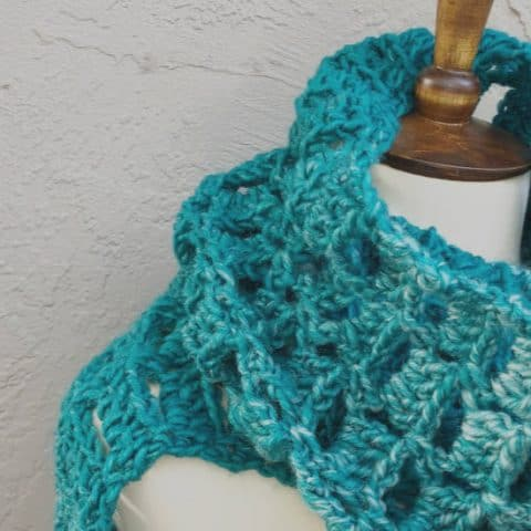 picture of chunky teal scarf
