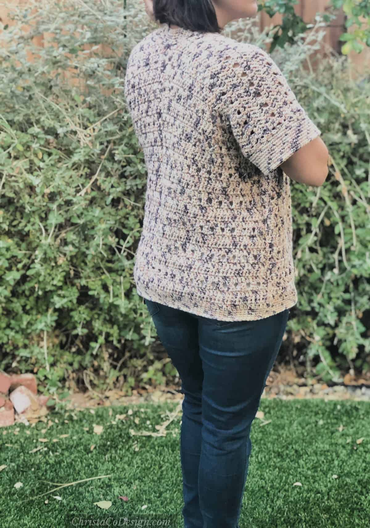 picture of back of summers end cardigan
