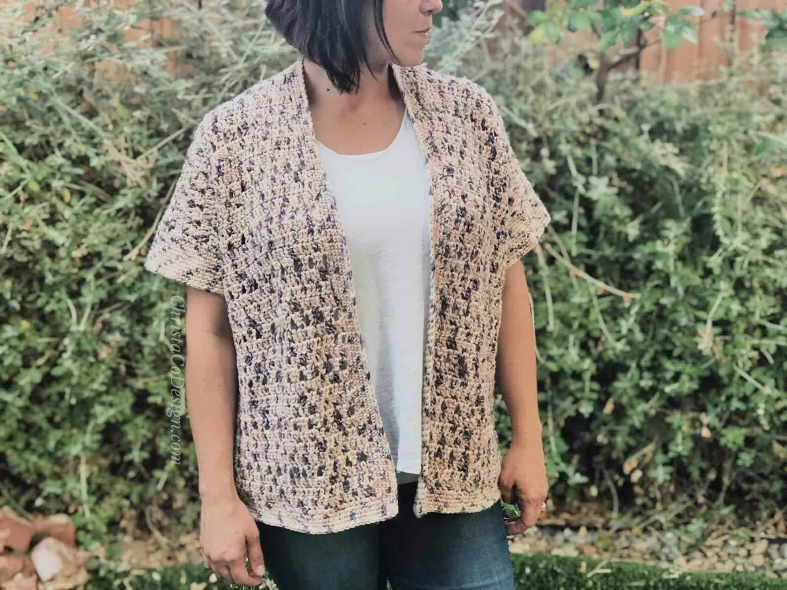 picture of short sleeve cardigan open front