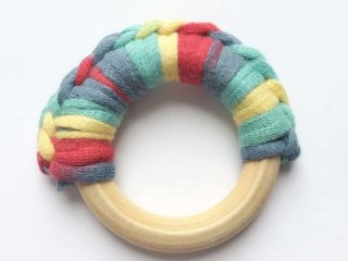 Wooden ring teether crochet.